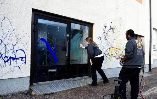 Kulturhuset i Finspång nedklottrat
